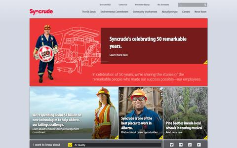 Screenshot of Home Page Menu Page syncrude.ca - Alberta Oil Sands Companies | Syncrude - captured Sept. 23, 2014