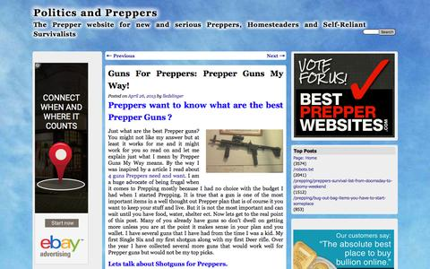 Screenshot of politicsandpreppers.com - Guns For Preppers: Prepper Guns My Way! | Politics and Preppers - captured April 14, 2016