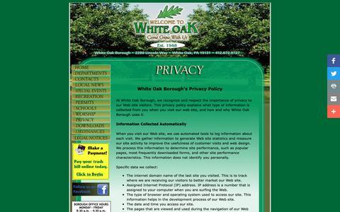 Screenshot of Privacy Page woboro.com - White Oak Borough Privacy Policy - captured Oct. 18, 2018