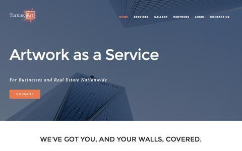Screenshot of Home Page turningart.com - Artwork As a Service - captured Aug. 10, 2016