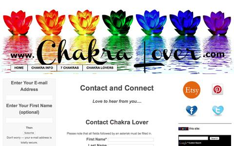 Screenshot of Contact Page chakra-lover.com - ChakraLovers Contact Form - captured Sept. 21, 2016