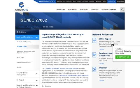 ISO and IEC Privileged Account Security Solutions - CyberArk