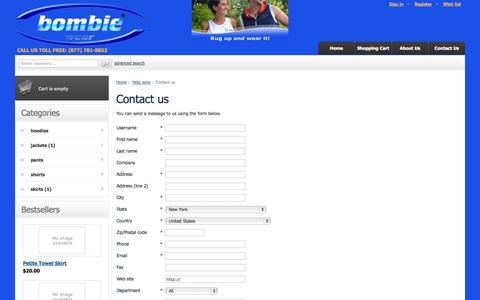 Screenshot of Contact Page bombiewear.com - Bombie Wear :: Help zone :: Contact us - captured Oct. 29, 2014