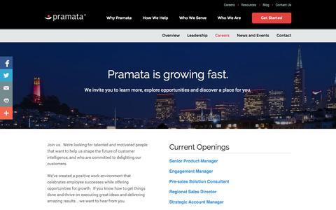 Screenshot of Jobs Page pramata.com - Pramata Customer Sales Intelligence™ Solution | Careers - captured Sept. 23, 2014