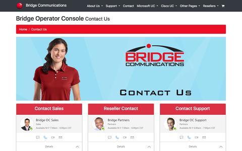 Screenshot of Contact Page bridgeoc.com - Bridge Operator Console - Contact Us - captured Oct. 11, 2017