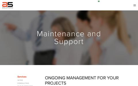 Screenshot of Support Page a5solutions.com - Maintenance and Support - A5 Solutions - captured May 28, 2017
