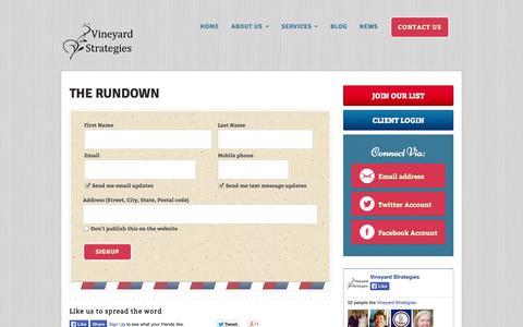 Screenshot of Signup Page vineyardstrategies.com - The Rundown - Vineyard Strategies - captured Sept. 30, 2014