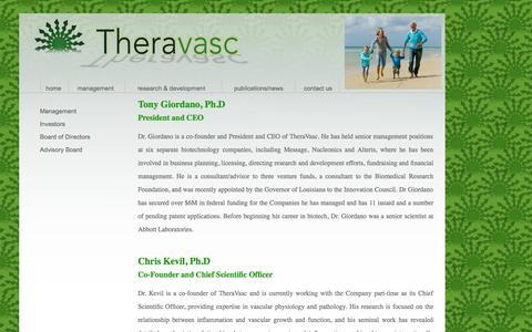 Screenshot of Team Page theravasc.com - Theravasc-management - captured Sept. 17, 2014
