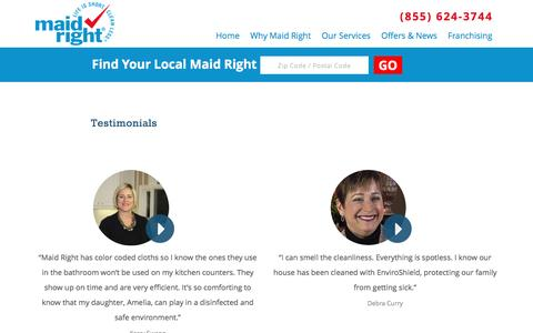 Screenshot of Testimonials Page maidright.com - Testimonials and Reviews of Our Services | MaidRight - Corporate - captured Nov. 19, 2016