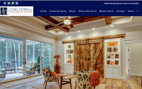 Screenshot of Home Page jhallhomes.com - J. Hall Homes | Custom Home Builder in Fredericksburg Virginia - captured Oct. 1, 2018