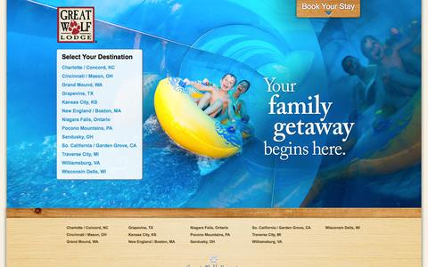Screenshot of Home Page greatwolf.com - Family Indoor Waterpark-Great Wolf Lodge-Water Park Resorts - captured Sept. 18, 2014