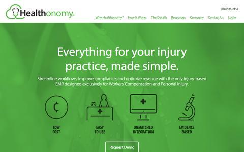 Screenshot of Home Page healthonomy.com - Healthonomy - captured Jan. 14, 2015