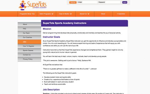 Screenshot of Jobs Page supertotsports.com - Kids Sports Classes | Jobs - captured Sept. 28, 2016