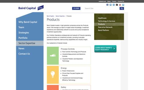 Screenshot of Products Page bairdcapital.com - Products Sector Expertise | Baird Capital - captured Dec. 29, 2015
