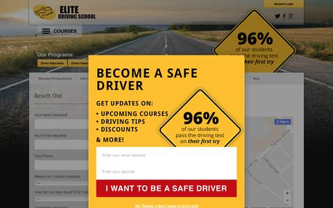 Screenshot of Contact Page drivingschool.net - Contact Elite Driving School | Elite Driving School - captured Nov. 5, 2016