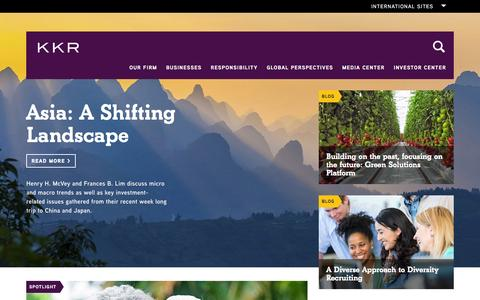Screenshot of Home Page kkr.com - KKR - captured Jan. 6, 2016