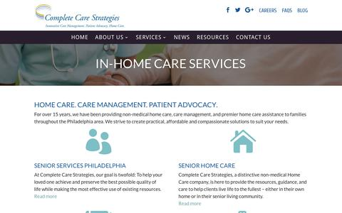 Screenshot of Services Page completecarestrategies.com - In Home Care for Seniors Philadelphia | Elderly Care Agency - captured July 23, 2017