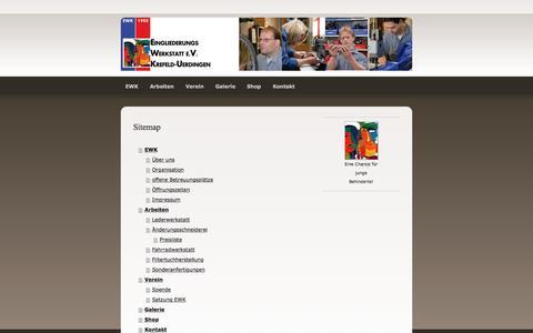 Screenshot of Site Map Page jimdo.com - Sitemap - EWK Eingliederungswerkstatt e.V. Krefeld-Uerdingen - captured April 1, 2017