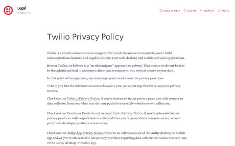 Screenshot of Privacy Page twilio.com - Twilio Cloud Communications - APIs for Voice, VoIP, and Text Messaging - captured May 23, 2016