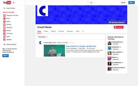 Screenshot of YouTube Page youtube.com - Cresoft Media  - YouTube - captured Oct. 23, 2014