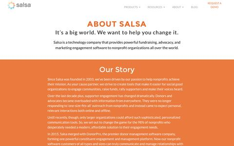 Screenshot of About Page salsalabs.com - About Salsa - Nonprofit Software Company - captured March 1, 2016