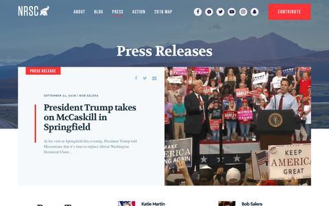 Screenshot of Press Page nrsc.org - Press Releases | NRSC - captured Sept. 22, 2018