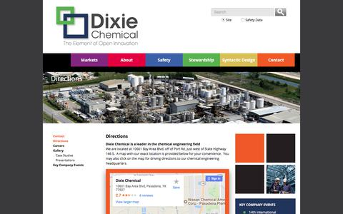 Screenshot of Maps & Directions Page dixiechemical.com - Directions to Dixie Chemical Engineering Headquarters - captured Oct. 12, 2017