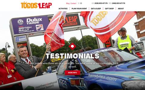 Screenshot of Testimonials Page toddsleap.com - Corporate Team Building Ireland | Todds Leap Outdoor Activity Centre - captured Feb. 22, 2016