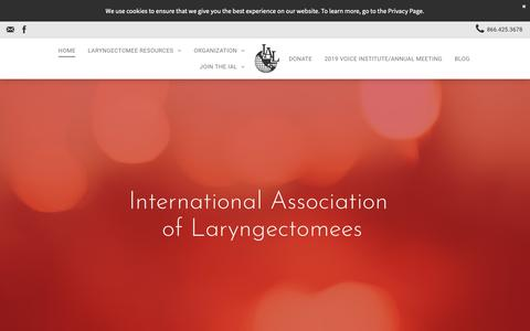 Screenshot of Home Page theial.com - the International Association of Larygectomee Home Page - captured Oct. 25, 2018