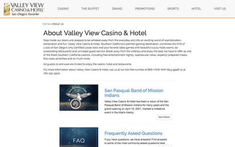 Screenshot of About Page valleyviewcasino.com - Casinos in Southern California | Valley View - captured Nov. 13, 2017