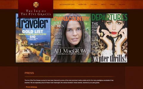 Screenshot of Press Page fivegraces.com - Press - The Inn of the Five Graces - captured Nov. 5, 2014