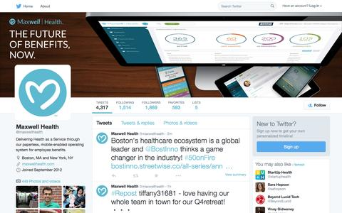 Screenshot of Twitter Page twitter.com - Maxwell Health (@maxwellhealth) | Twitter - captured Oct. 14, 2015