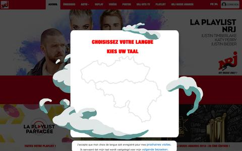 Screenshot of Home Page nrj.be - NRJ Belgique : HIT MUSIC ONLY - captured Oct. 26, 2018