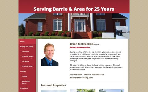 Screenshot of Home Page barrierealty.com - Home - Real Estate - Homes for sale in -   Barrie ON - Brian McCracken, Royal LePage First Contact Realty - captured Oct. 6, 2014
