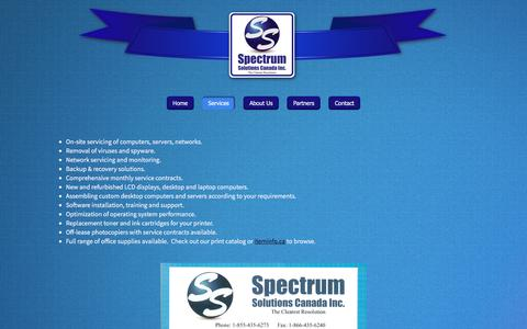 Screenshot of Services Page spectrumsolutions.ca - Services - Spectrum Solutions Canada Inc. - captured Dec. 1, 2016