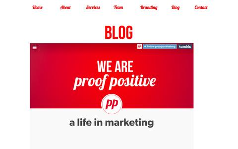 Screenshot of Blog proofpositive.ie - proof positive - a life in marketing - captured Nov. 2, 2014