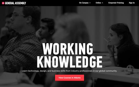 Screenshot of Home Page generalassemb.ly - Learn Programming, Web Design, Business | General Assembly - captured Jan. 14, 2015