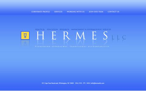 Screenshot of Home Page hermesllc.com - HERMES | Health & Education Research, Management & Epidemiologic Services - captured Sept. 25, 2018