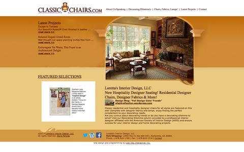 Screenshot of Home Page classic-chairs.com - Loretta's Interior Design, LLC - captured Oct. 3, 2014