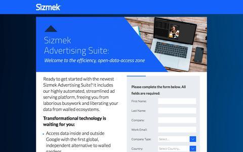 Screenshot of Landing Page sizmek.com - Sizmek Advertising Suite: Welcome to the efficiency, open-data-access zone - captured Sept. 20, 2018