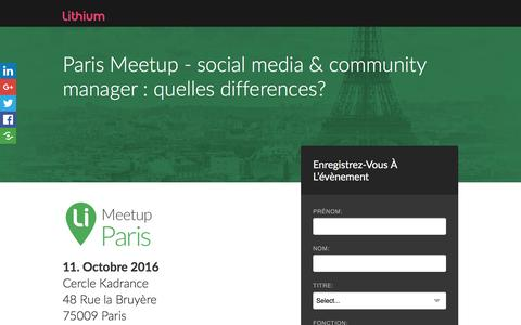 Screenshot of Landing Page lithium.com - Paris Meetup - social media & community manager : quelles differences? - captured Oct. 2, 2016