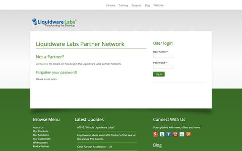 Screenshot of Login Page liquidwarelabs.com - Liquidware Labs Partner Network - captured Dec. 10, 2015