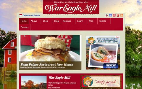 Screenshot of Home Page wareaglemill.com - Home - War Eagle Mill - captured Oct. 7, 2014