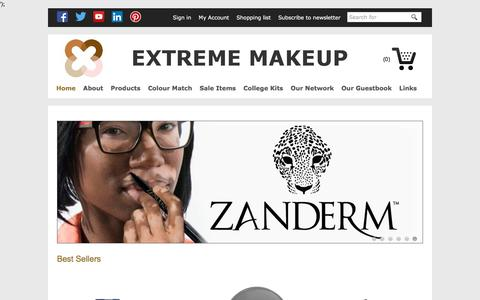 Screenshot of Home Page extrememakeup.co.uk captured July 14, 2019