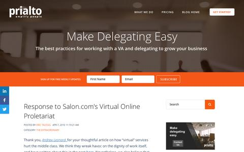 Screenshot of Blog prialto.com - Prialto Blog: Best practices for working with a virtual assistant - captured April 8, 2016