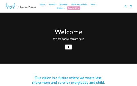 Screenshot of Home Page stkildamums.org - share the joy by recycling your preloved baby things                      – St Kilda Mums - captured Oct. 19, 2018