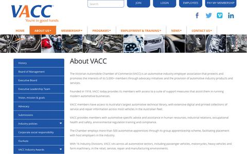 Screenshot of About Page vacc.com.au - About us - captured Sept. 24, 2018