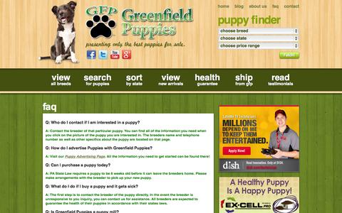 Screenshot of FAQ Page greenfieldpuppies.com - FAQ | Puppy Breeders and Dog Breed Questions - captured Sept. 22, 2014