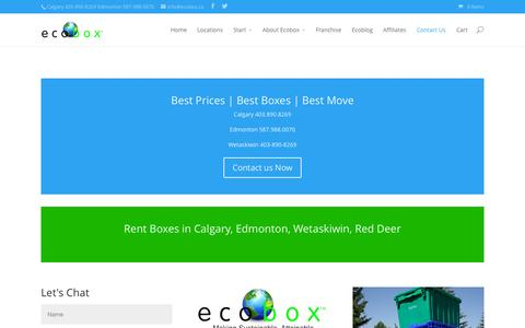 Screenshot of Contact Page ecobox.ca - Calgary Moving Boxes - Free delivery in Calgary - captured Sept. 27, 2015