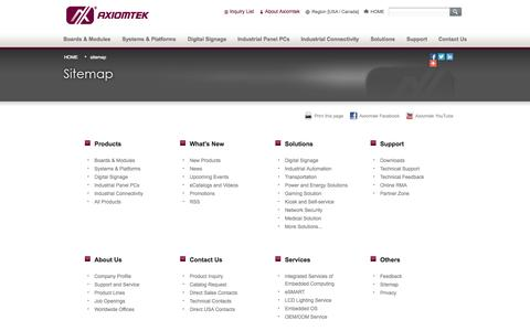 Screenshot of Site Map Page axiomtek.com - Sitemap - Axiomtek USA - captured Sept. 19, 2014